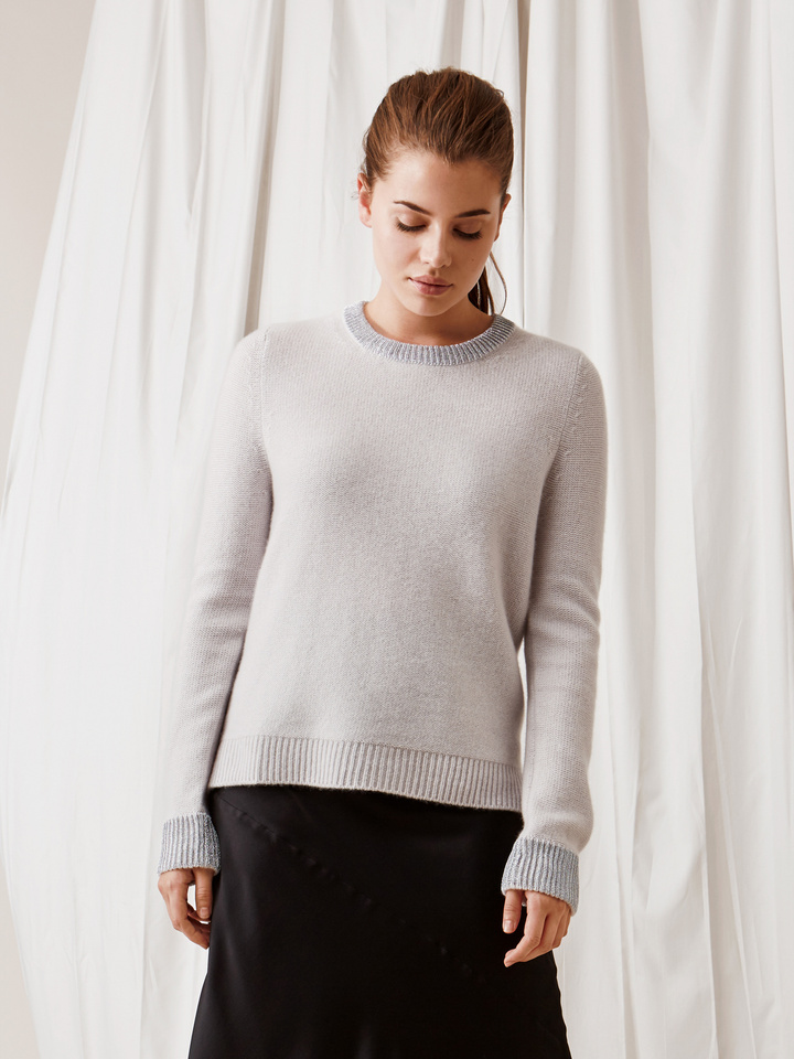 Soft Goat Inside Out Stitch Sweater Silver Grey/lurex