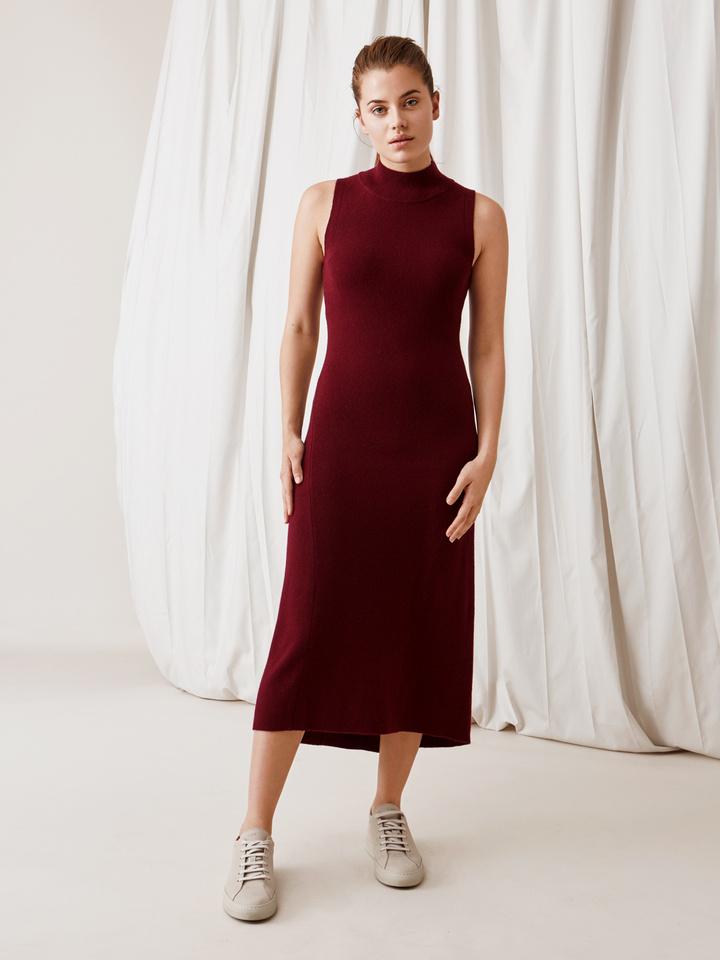 Soft Goat Long Dress Burgundy