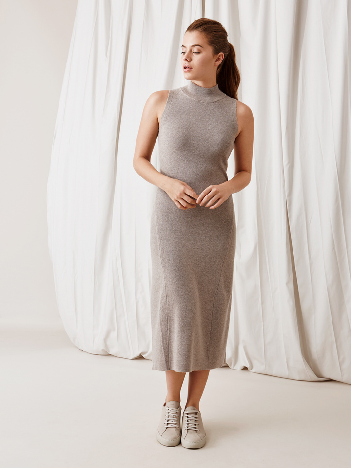 Soft Goat Long Dress Light Taupe