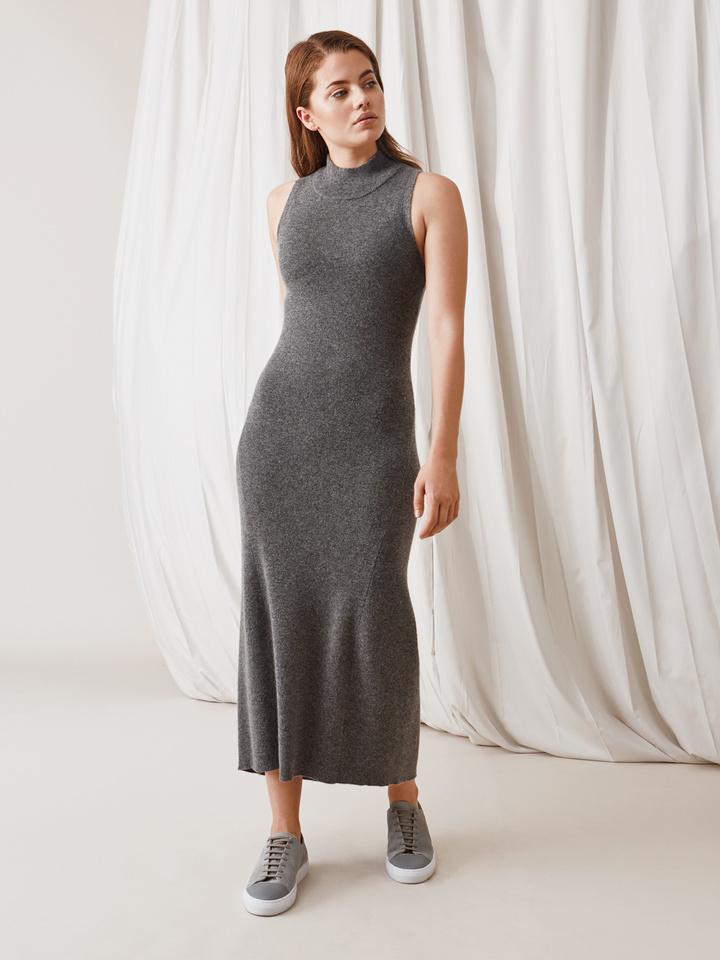 Soft Goat Long Dress Dark Grey