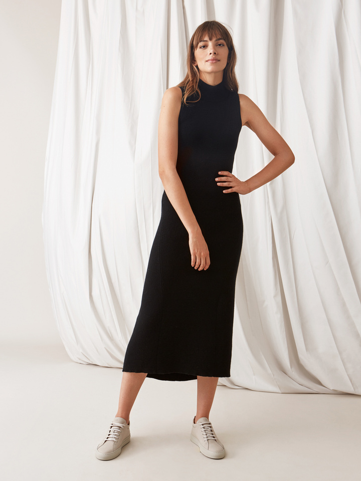 Soft Goat Long Dress Black