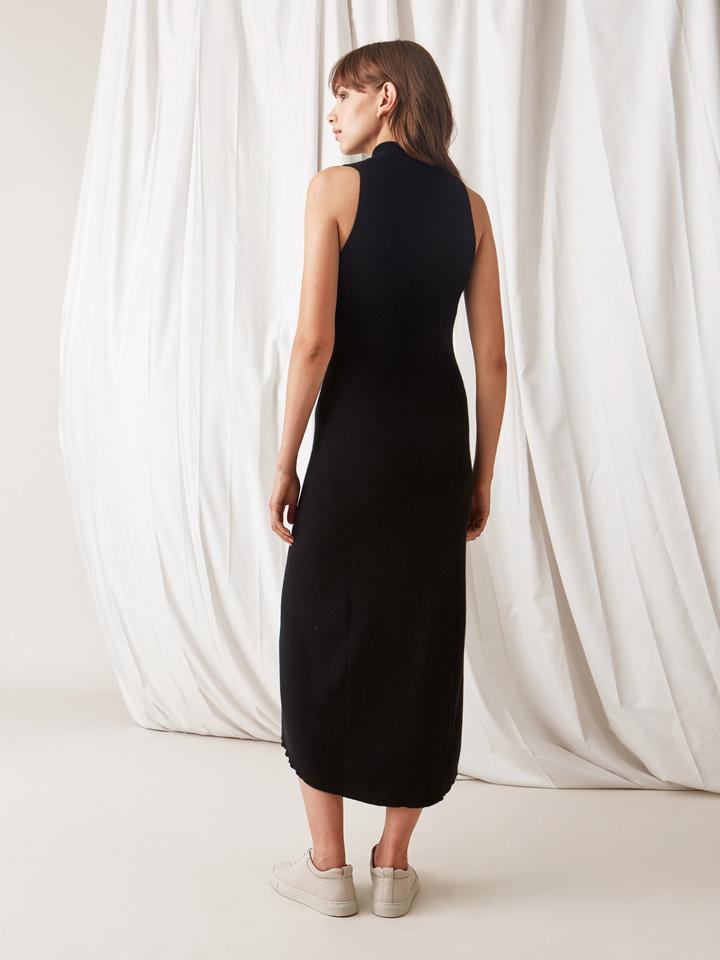 Soft Goat Long Dress Black