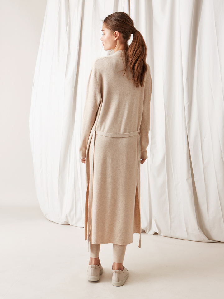 Soft Goat Long Fine Knit Cardigan Beige