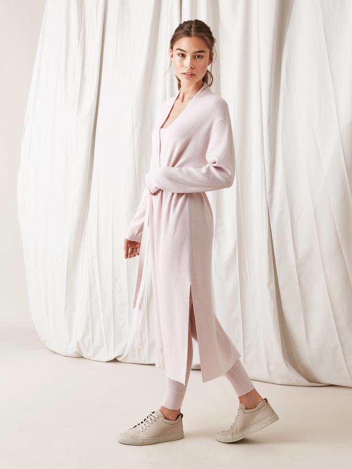 Soft Goat Long Fine Knit Cardigan Marshmallow