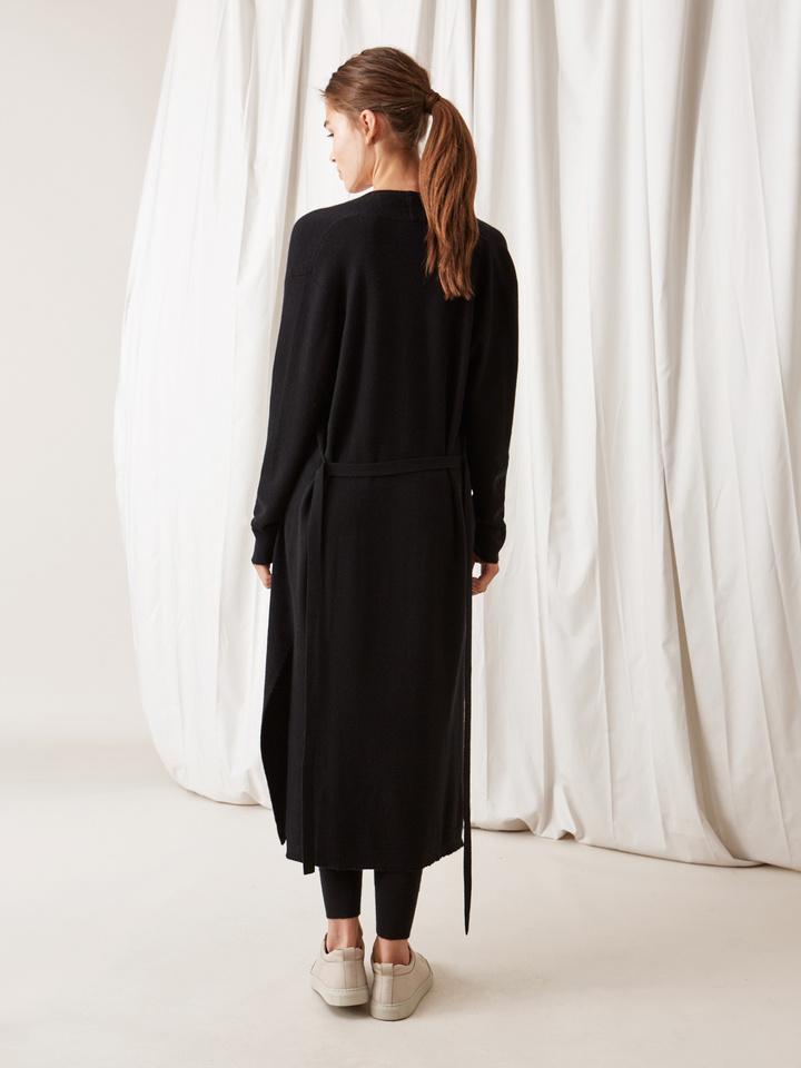 Soft Goat Long Fine Knit Cardigan Black