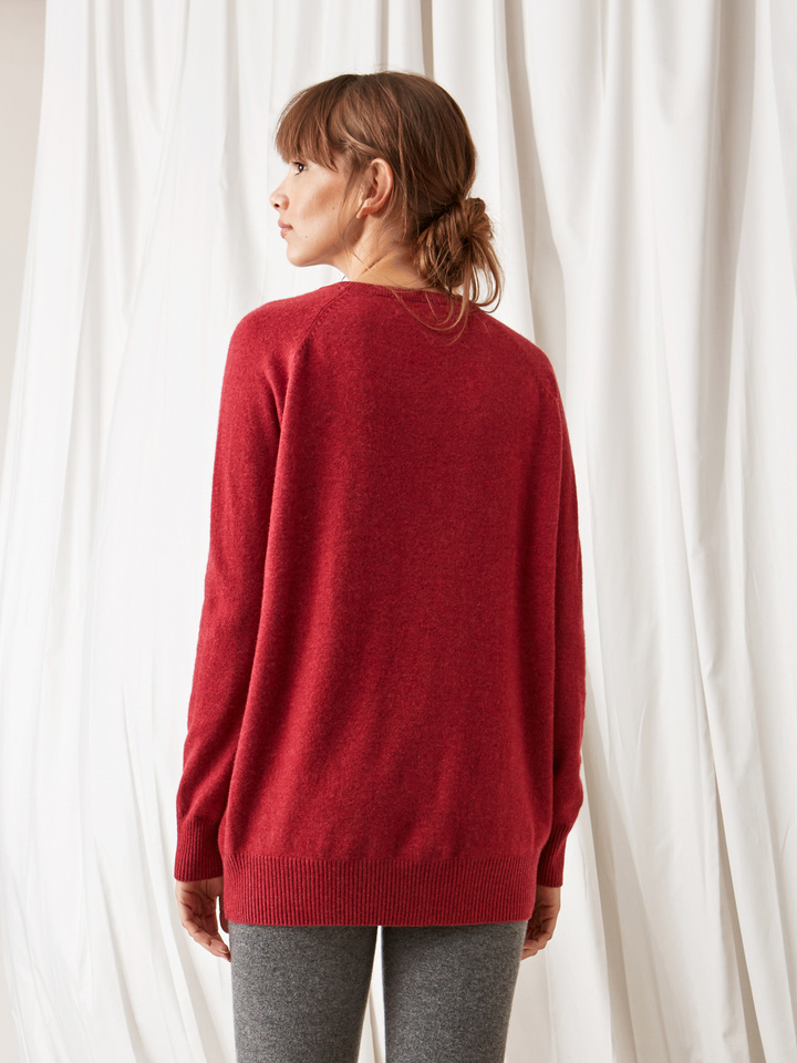 Soft Goat O-Neck Oversize Pomegranate
