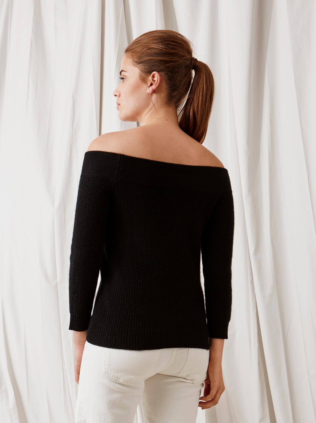 Soft Goat Off Shoulder Sweater Black