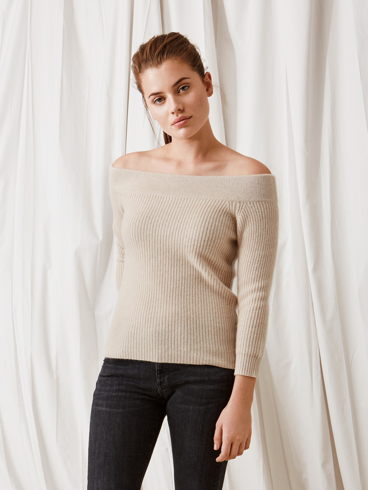 Soft Goat Off Shoulder Sweater Beige