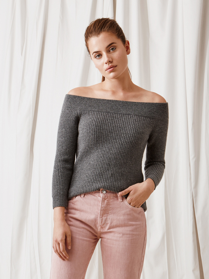 Soft Goat Off Shoulder Sweater Dark Grey