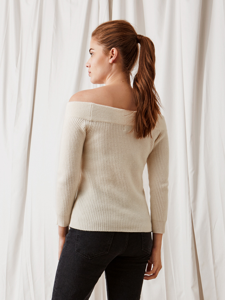 Soft Goat Off Shoulder Sweater Off White