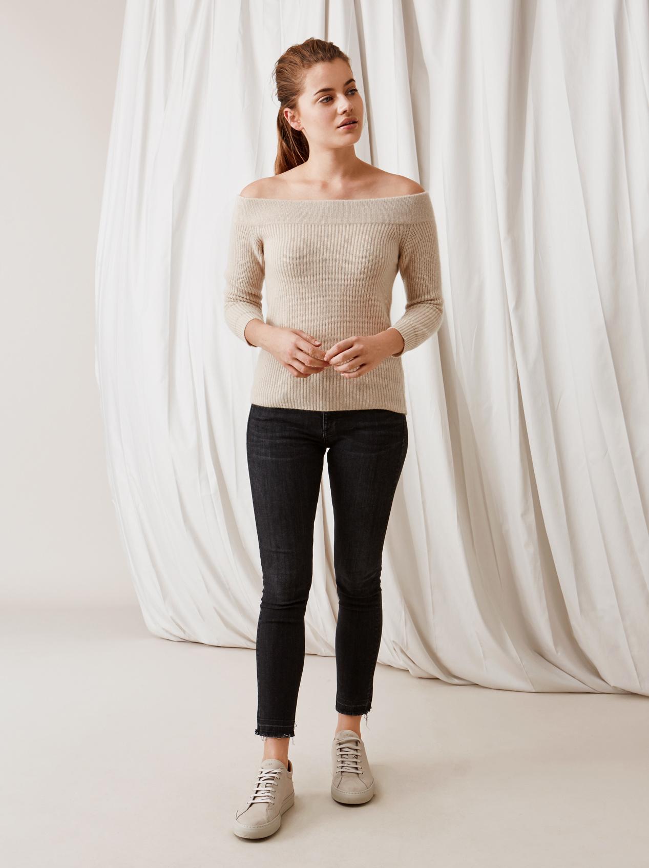 Soft Goat Off Shoulder Sweater Beige