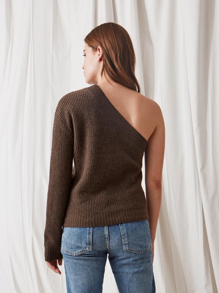 Soft Goat Women's One Shoulder Sweater Mocca