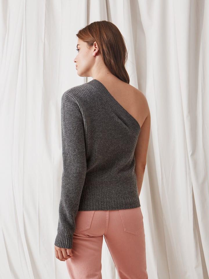 Soft Goat Women's One Shoulder Sweater Dark Grey