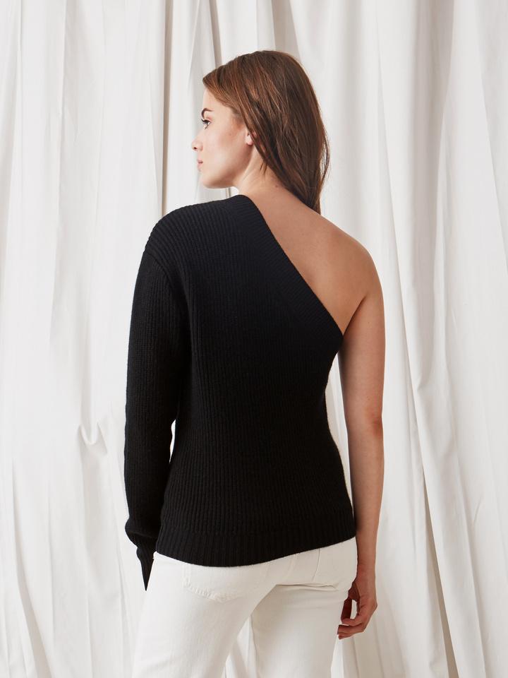 Soft Goat Women's One Shoulder Sweater Black