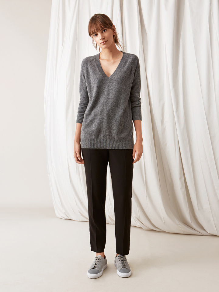 Soft Goat Oversize V-Neck Dark Grey
