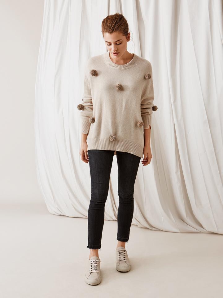 Soft Goat Pom Pom Sweater Beige