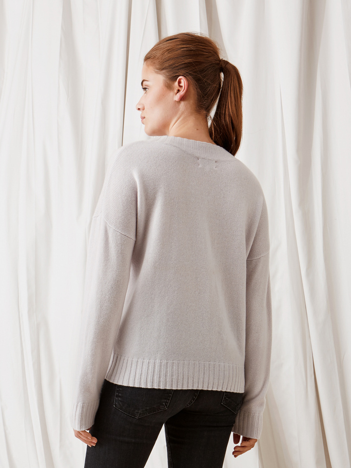 Soft Goat Relaxed Sweater Silver Grey