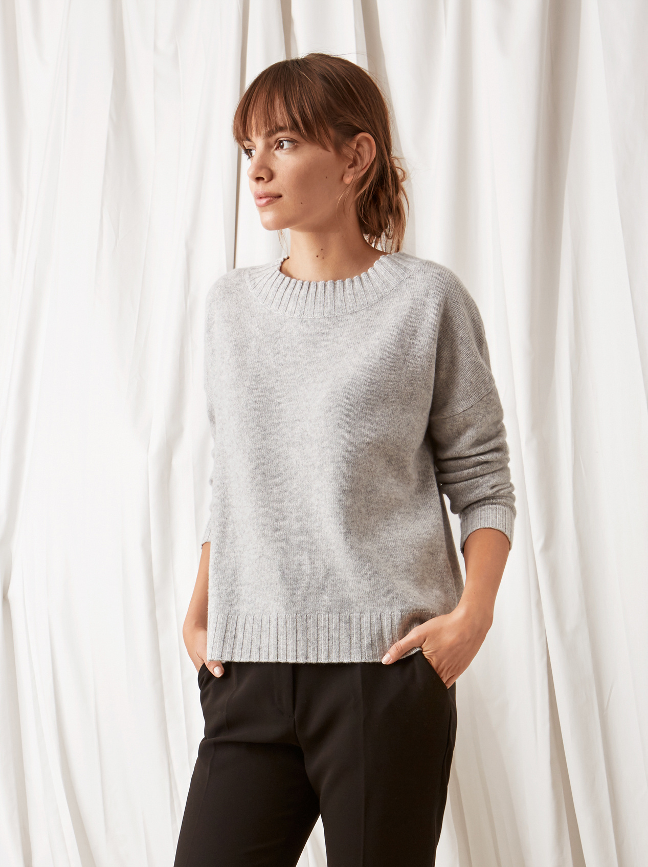 Soft Goat Relaxed Sweater Light Grey