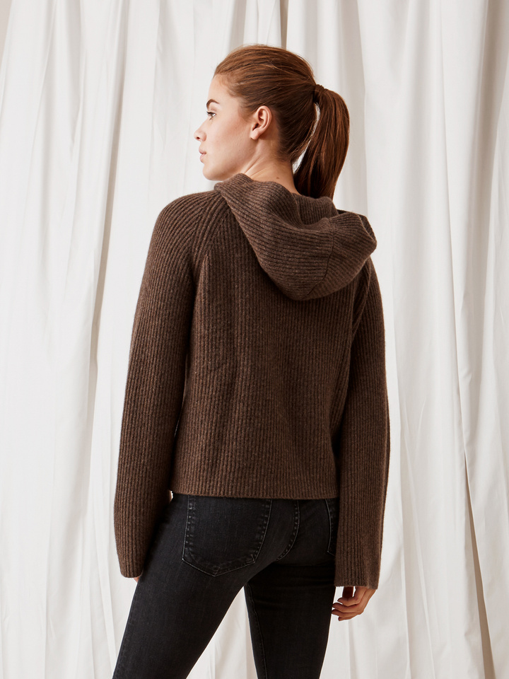 Soft Goat Ribbed Hoodie Mocca