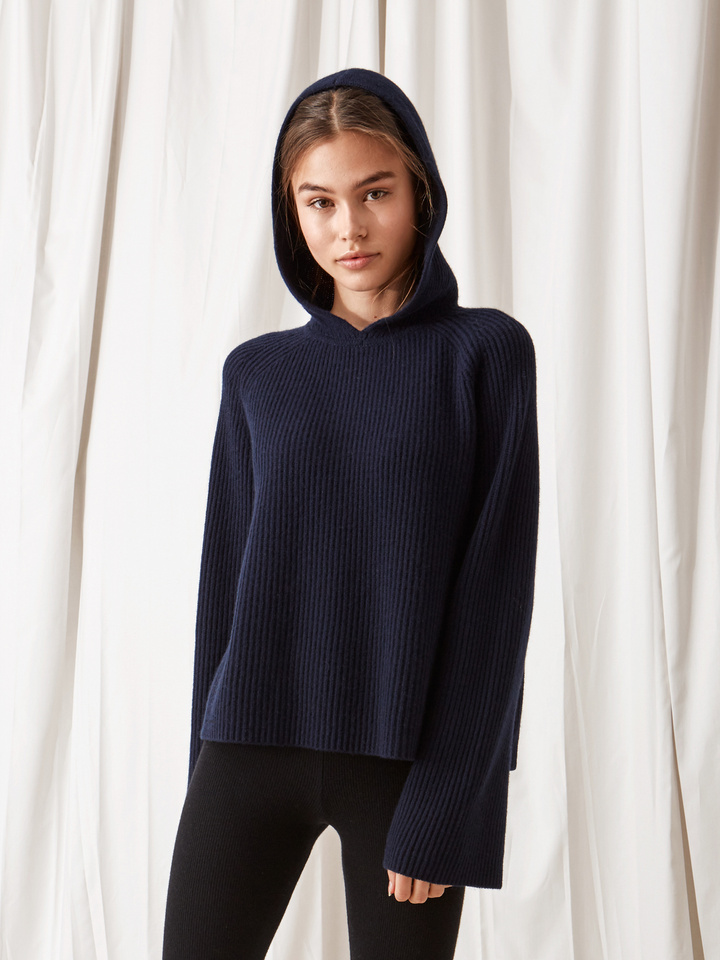 Soft Goat Ribbed Hoodie Navy