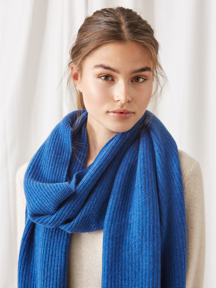 Soft Goat Ribbed Scarf Royal Blue