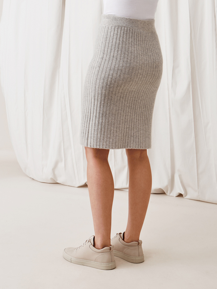 Soft Goat Ribbed Skirt Light Grey