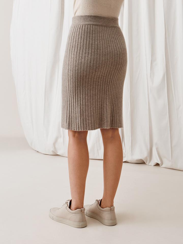Soft Goat Ribbed Skirt Light Taupe