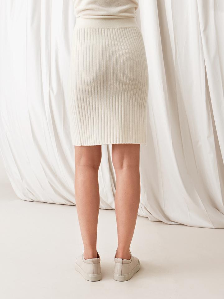 Soft Goat Ribbed Skirt Off White