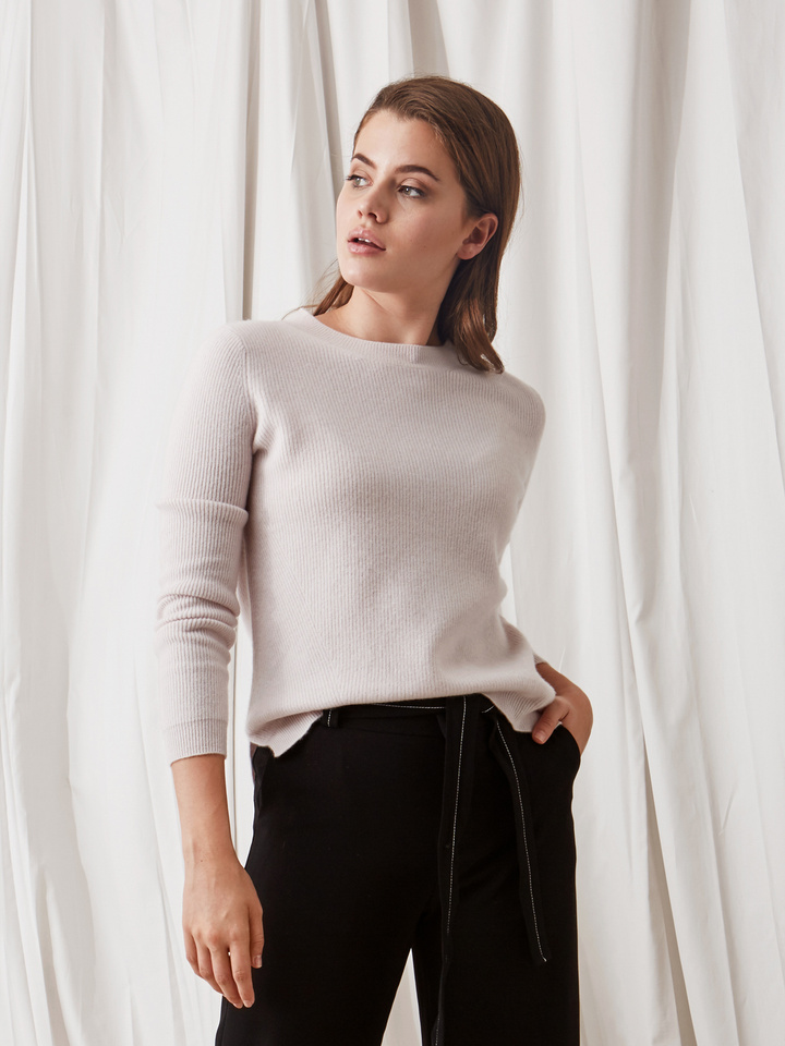 Soft Goat Ribbed Sweater Marshmallow