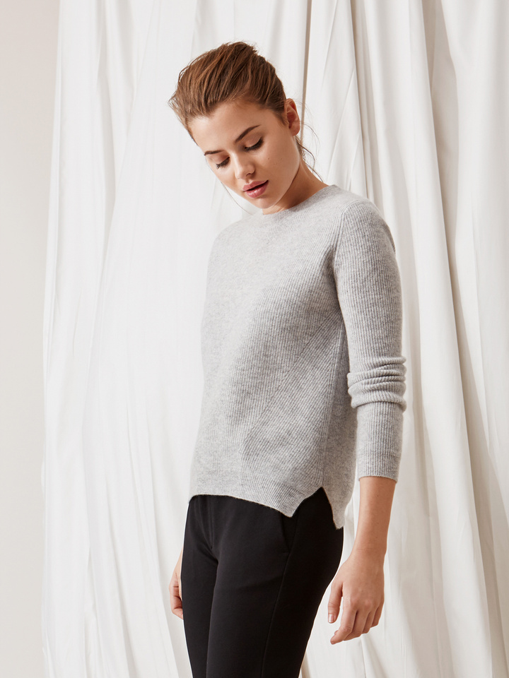 Soft Goat Ribbed Sweater Light Grey