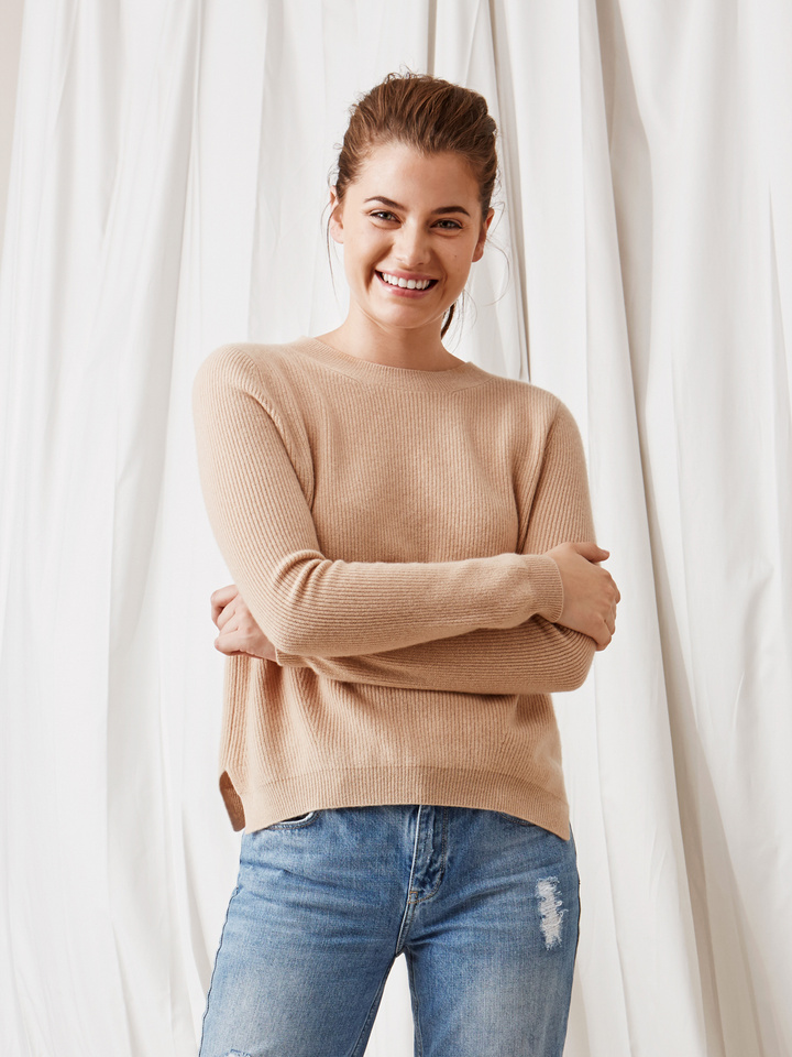 Soft Goat Ribbed Sweater Camel