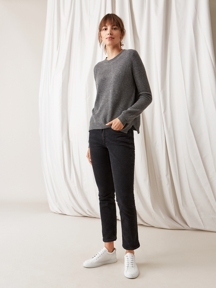 Soft Goat Ribbed Sweater Dark Grey