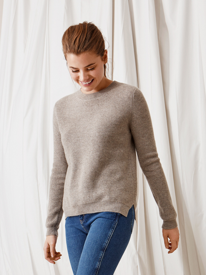 Soft Goat Ribbed Sweater Light Taupe