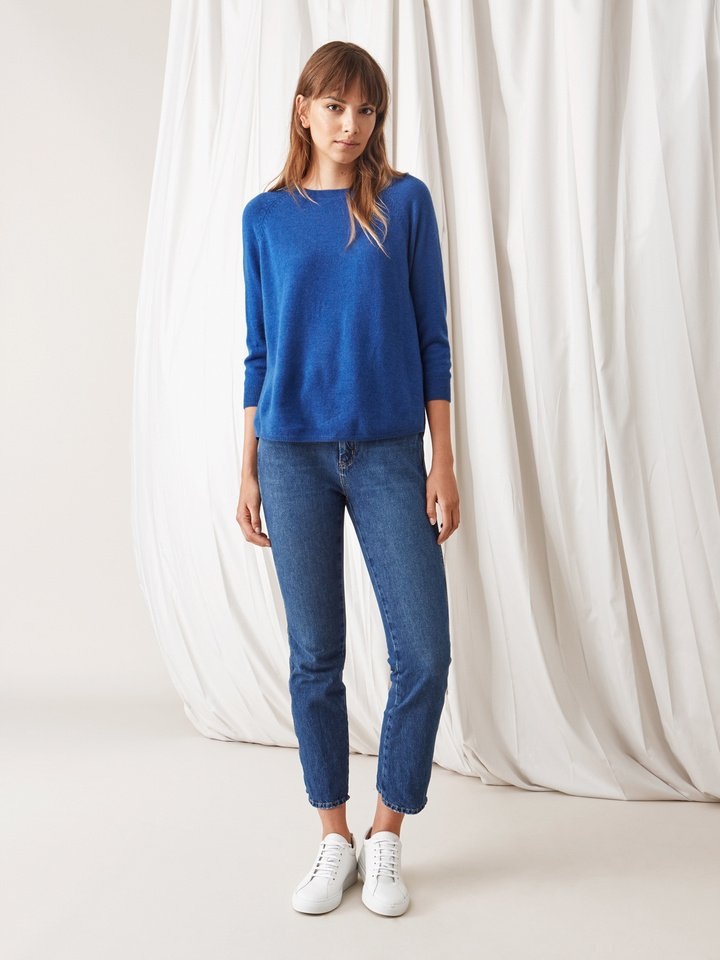 Soft Goat Rounded Sweater Royal Blue