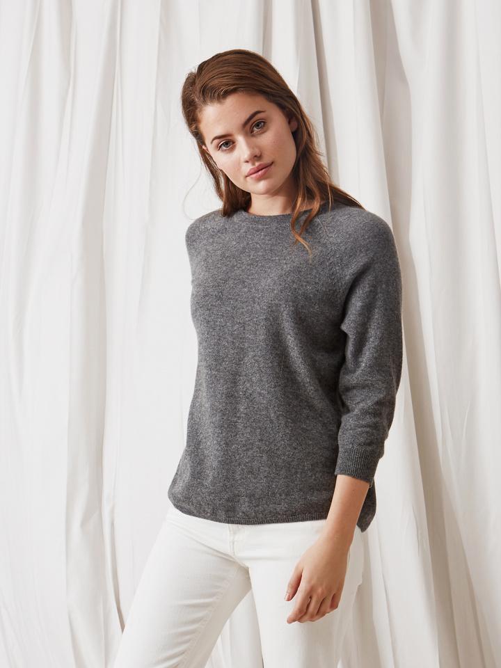 Soft Goat Rounded Sweater Dark Grey