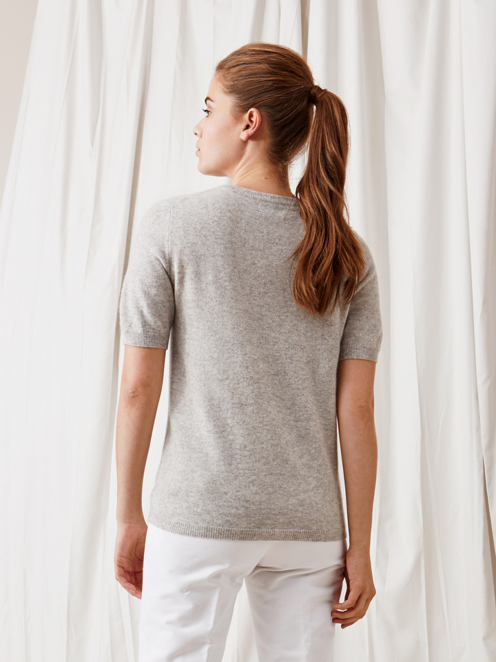 Soft Goat Short Sleeve O-Neck Light Grey
