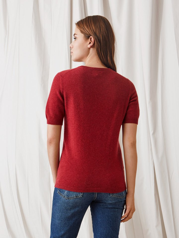 Soft Goat Short Sleeve O-Neck Pomegranate