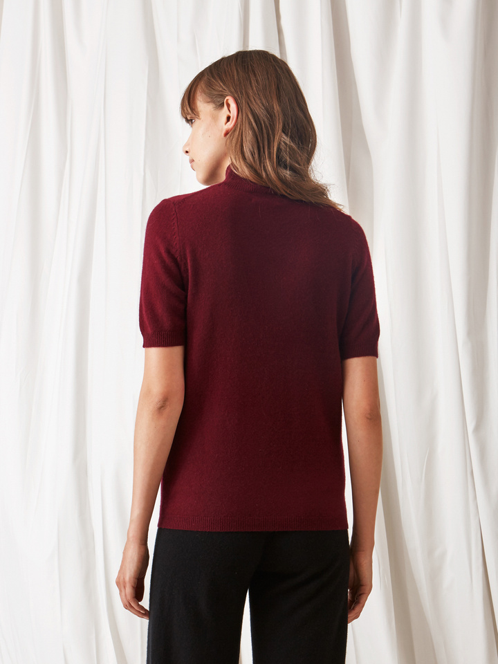 Soft Goat Short Sleeve Turtle Neck Burgundy