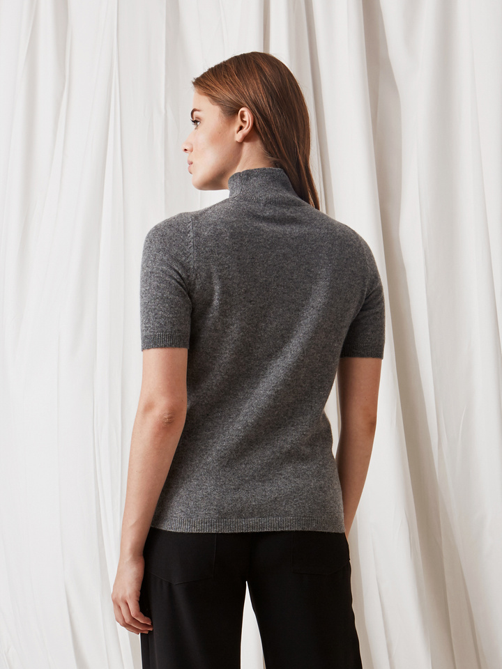 Soft Goat Short Sleeve Turtle Neck Dark Grey