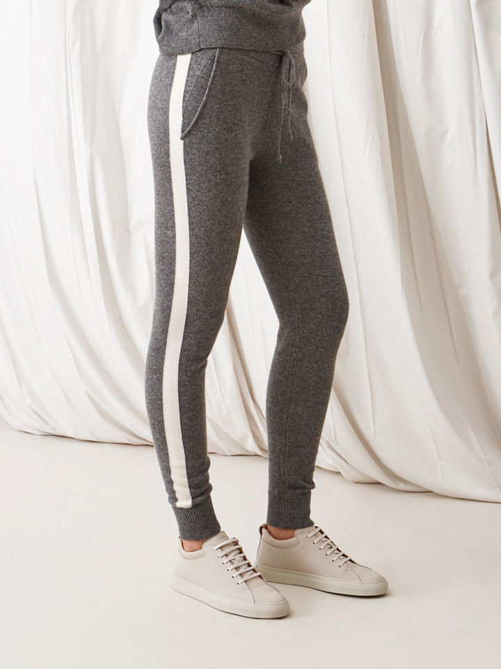 Soft Goat Striped Pants Dark Grey/off White