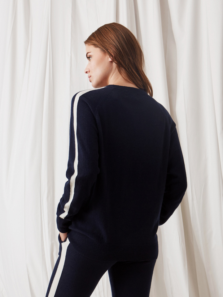 Soft Goat Striped Sweater Navy/off White