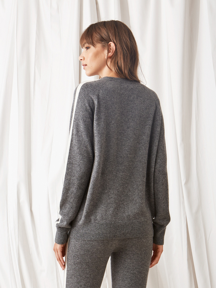 Soft Goat Striped Sweater Dark Grey/off White