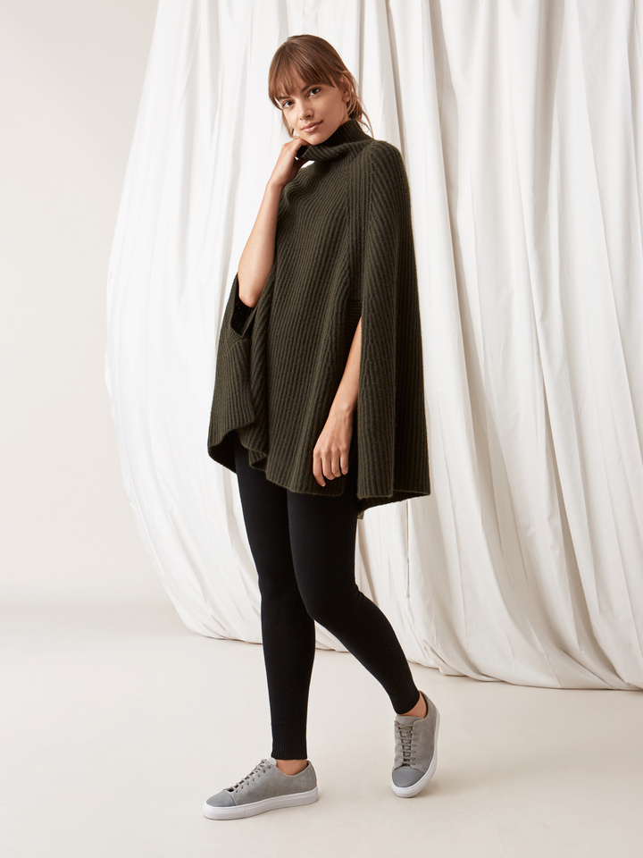 Soft Goat Women's Turtle Neck Cape Deep Green