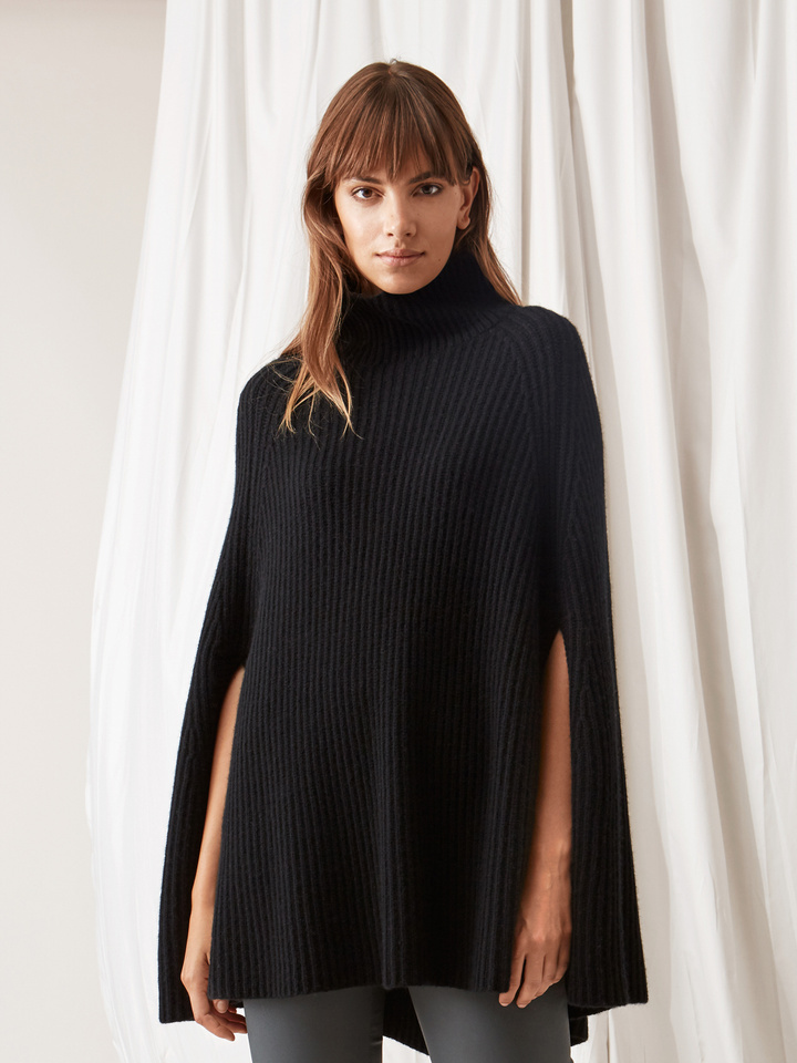 Soft Goat Women's Turtle Neck Cape Black