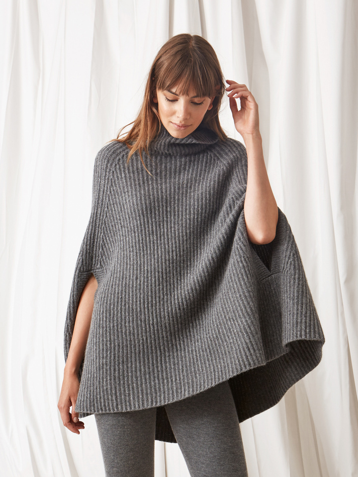 Soft Goat Women's Turtle Neck Cape Dark Grey
