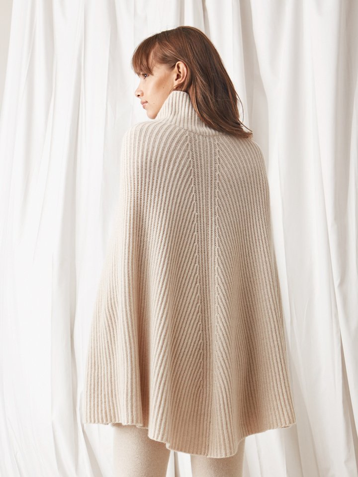 Soft Goat Women's Turtle Neck Cape Beige