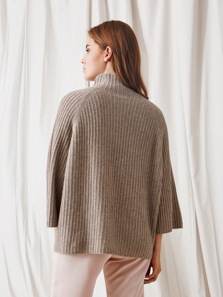 Soft Goat Turtle Neck Poncho Light Taupe