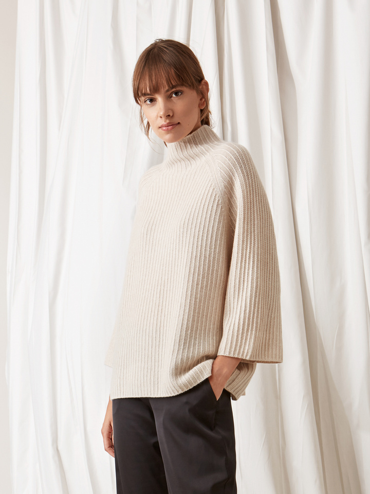 Soft Goat Turtle Neck Poncho Beige