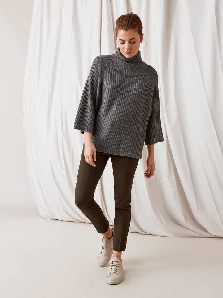 Soft Goat Turtle Neck Poncho Dark Grey