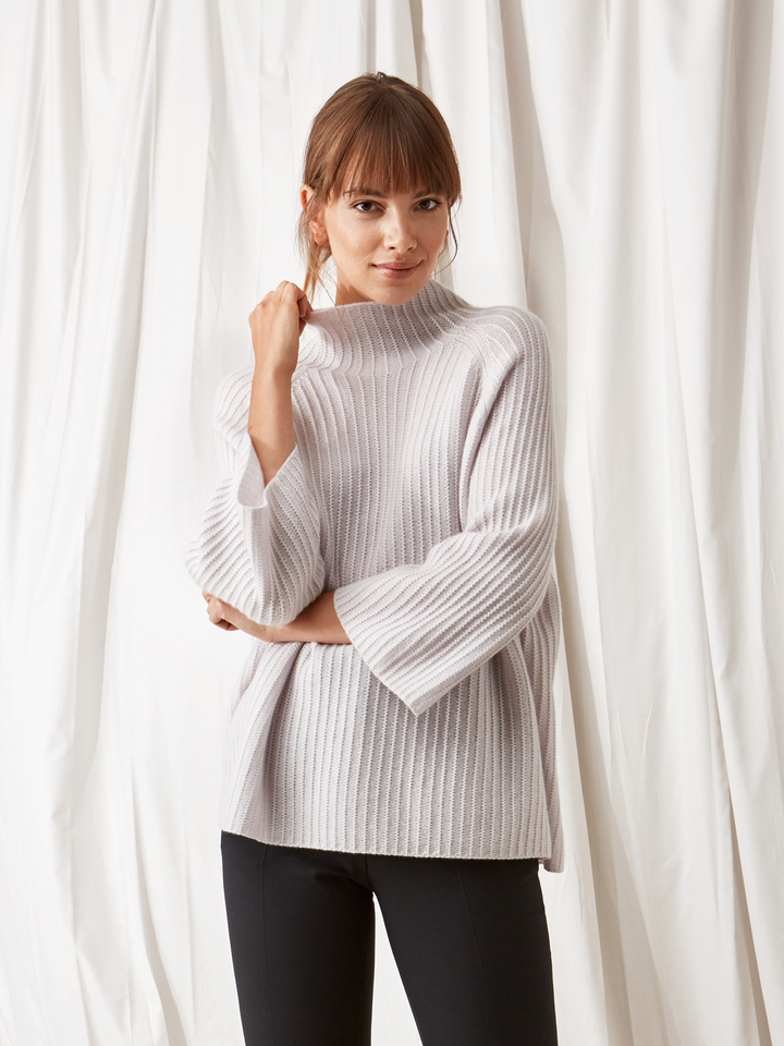 Soft Goat Turtle Neck Poncho Silver Grey